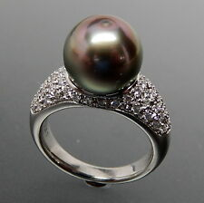 PLATINUM 0.55 CTW DIAMONDS & 11.3 MM GREY TAHITIAN PEARL STATEMENT RING SZ 6.25