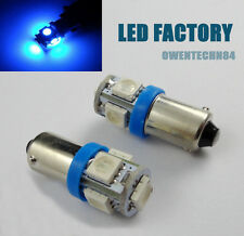 20X Car Ba9s 5050 5 SMD LED Blue Interior License Plate Map Dome Light Bulb #ORT