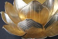 "Mid Century 60's Lotus Design Brass Centerpiece Hong Kong X-tra Large 11"""