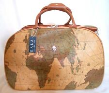 "WORLD MAP 21"" CARRY ON LUGGAGE ROLLING OVERNIGHT Wheeled Duffle TRAVEL BAG"