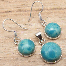 Matching Earrings & Pendant SET ! 925 Silver Plated LARIMAR Gemstone ART Jewelry