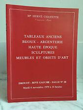Catalogue de vente Tableaux anciens Bijoux Argenterie... n°20  6 Novembre 1979