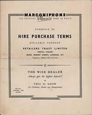 Marconiphone 'Hire Purchase Terms' Retailers Trust 1952, London  (ZQ.55)