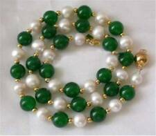 7-8MM White Akoya Pearl & Natural Green Jade Round Beads Necklace 18""