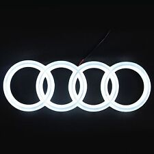 AUDI EMBLEM LED WHITE LIGHT FRONT CAR GLOW LOGO BADGE RINGS GRILL DRL