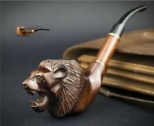 "HAND CARVED  UNIQUE EXCLUSIVE WOODEN SMOKING PIPE PEAR  "" Lion Head ""   LARGE"