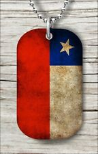 """FLAG CHILE COUNTRY DOG TAG PENDANT and """"FREE CHAIN"""" -dcv9Z"""
