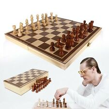 Vintage Wood Pieces Chess Set Folding Board Box Wood Hand Carved Gift Kid Toy TR