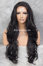"Heat Resistant Extra long  Wavy Layered LACE FRONT WIG Off Black 25.5""  ws 1B"