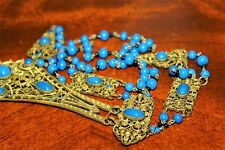 Antique Art Deco MAX NEIGER Blue Glass Ornate Brass Open Work Necklace ND5