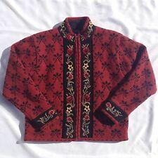 Wool Cardigan Sweater Icelandic Design Red Floral Nordic Womens Size Medium