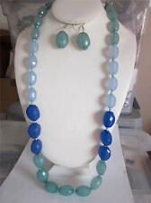 MULTI BLUE FACETED LUCITE BEAD GRADUAL LONG NECKLACE EARRING SET