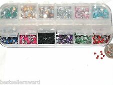 1200pc+Tiny Fairy Rhinestone HEART confetti Gel gem KIT 12 Mix for glass bottle