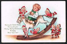 Christmas Postcard~Boy On Rocking Horse Surrounded By Nimble Nicks~Poem~Whitney
