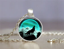 New Wolf Cabochon Tibetan silver Glass Chain Pendant Necklace XC38