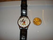 NEW ORIGINAL MICKEY MOUSE DISNEY WATCH WHITE GLOVES SILVER CASING RARE LEATHER