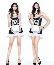 Black 6 Pieces Maid Valentine Costume Lingerie, Hen Party Fancy Dress, Size S-M