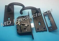 Black Antique Iron Curl lever lock door handles and 3 lever lock