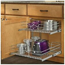 Pull Out Sliding Metal Kitchen Pot Cabinet Storage Organizer 2 Shelves Drawers