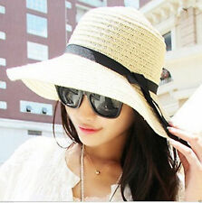Foldable Paper Grass Ladies Women Wide Brim Beige Summer Beach Sun Hat One Size