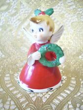VTG Napco Christmas Girl Pixie Angel Holds Wreath w O Tag Bell Ornament Figurine