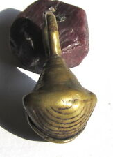 RARE OLD LARGE AFRICAN TRADE BRASS BELL ANTIQUE PENDANT BEAD 21mm x 24mm x 46mm@