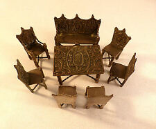 Dutch Miniature 833 Sterling Antique 8PC Table, Chairs, & Bench