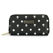 NWT Loungefly Skull Polka Dot Embosed Faux Leather Black/White Zip-Around Wallet