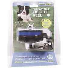 Reflective Retractable Tie Out Reel With Bracket Black-Blue 25-80 Lb