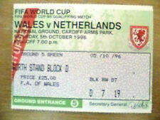 Tickets- FIFA World Cup 1998 Qualifying- WALES v NETHERLANDS, 5th Oct 1996