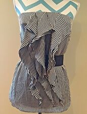 REISS Black & Gray Vertical Stripe Ruffle Front Belted Bustier Silk Tunic Top 8