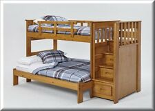 Bunk Beds With Stairs Wood Twin Over Full Honey Kids Bedroom Furniture Stairway