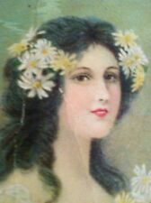 """Antique Bookmark Advertising  Rochester NY """"Ladies Fine Suitings"""" Girl W Daisies"""