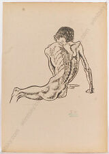 """Erwin Stolz (1896-1987) """"Male Nude"""", Large Drawing, 1925"""