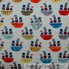 BonEful Fabric FQ Flannel Cotton Quilt Pirate Ship Boat Red White Blue Gray Flag