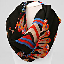 Black and Multi Feather Print Scarf
