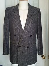 Mens GIVENCHY Silk Tweed Plaid Double Breasted Blazer Jacket USA Vintage Size 40