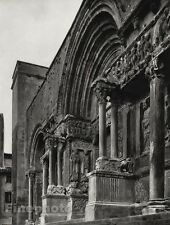 1927 Vintage FRANCE Saint-Gilles Church Entrance Architecture Photo By HURLIMANN