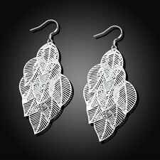 925 Sterling Silver Filled Filigree Large Leaves Earrings Jewellery Gift For Her