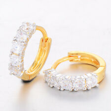 1 Pairs Hoop Earrings Yellow Gold Plated One Row CZ 14K Korean Round Crystal