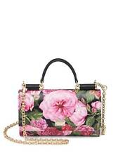 New Dolce & Gabbana Black-Rose Floral Leather Chain Wallet Retails $1060