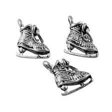 Packet of 10 x Antique Silver Tibetan 11mm Charms Pendants (Ice Skate) ZX11445