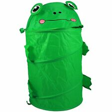 KidPlay Pop Up Green Frog Hamper Kids Laundry Basket Collapsible Nylon Bin