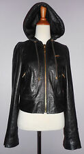 Juicy Couture Black Long Sleeve Leather Hoodie, Jacket, size S