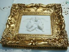 """Framed Stone Wall Plaque in stone compound, """"Two Angels"""", gorgeous frame"""