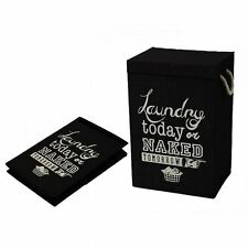 NEW STORESMART LAUNDRY HAMPER ROOM RULES BLACK LID WITH CLOSING ROPE