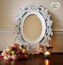 Hand Carved Wooden Mirror White Washed Grey Wall Flower Leaf Shabby Chic French