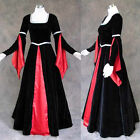 Medieval Renaissance Black Red Gown Dress Costume Goth Wedding 4X