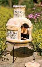 Clay Chimenea Transfoms to Barbeque Patio Heater BBQ Fire Pit 2 part chiminea