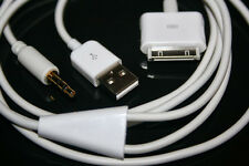 Y Cable Car AUX USB Audio White Cord 4 iPhone iPod iPad BMW Volvo Sony Ford UK